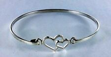 New  Double Heart Sterling Silver Latch Bangle  .925 Pure Silver