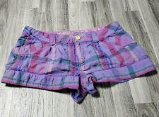 OP Ocean Pacific Juniors Size 13 Pockets Multicolored Plaid Short Shorts