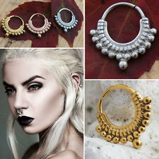 16G-18G Bead Ornate Indian Tribal Crescent Septum Ring Captive Nose Jewelry Set