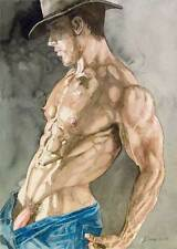 Oh boy, homme nu, watercolor print nude male cowboy undressing gay interest