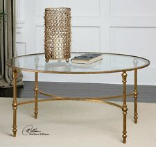"""Gold Leaf Oval Coffee Cocktail Table Forged Iron Glass Top Vitya Classic 40"""""""