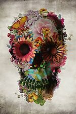 Flower Sugar Skull Poster Print Wall Art Home Decor Dia De Los Muertos  Skeleton
