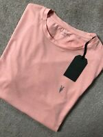 "ALL SAINTS CORAL PINK ""NIC TONIC"" S/S CREW LOGO T-SHIRT TOP - M & L - NEW & TAGS"