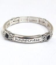 Inspirational  Stretch Bracelet Love Joy Happiness Dream Black Crystals