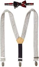 Mud Pie Baby Boys' Plaid Bow Tie Tweed Suspender Set, Red Plaid, One Size