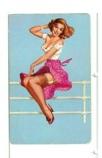 """Single Playing Card Pin Up """"Girl on Fence"""" Blue Bkgd"""