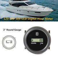 """LCD Digital Hour Meter Fits Car Truck Marine Boat Engine 2""""Round Gauge 12/24/36V"""