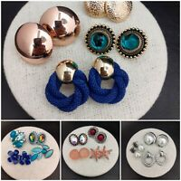 Job Lot 15 Pairs GIFT BOXED Oversized Large Stud Earrings - Gold Red Blue #3