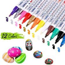 12 Farben Acrylstifte Marker Permanent Wasserfest Set für DIY Graffiti Steine