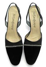 Yves Saint Laurent Shoes Sling Backs Black Velvet Fabric Stones 8 N Vtg 1980's