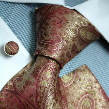 PH1078 Red Green Paisley Formal Presents Idea Silk Neck Tie Cuff Hanky Epoint