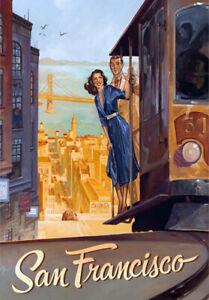 Retro Vintage Travel Poster * SAN FRANCISCO * LARGE A3 Size CANVAS ART PRINT