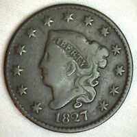 1827 Coronet Large Cent US Copper Type Coin Genuine Penny Very Good M39 VG