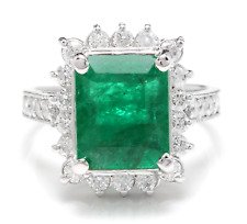 5.10Ct Natural Emerald & Diamond 14K Solid White Gold Ring