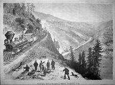 EISENBAHN in CALIFORNIEN. USA, Railway, California. Orig. großer Holzstich 1879