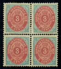 DANISH WEST INDIES #6 (6f) 3¢ bicolor, pr. VI, Block of 4, og, LH, VF Facit $180