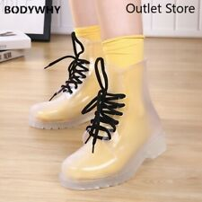 Women Rain Boots Lace Up Waterproof Lady Shoes Transparent Ankle Outdoor Shoes