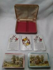 1939 Vintage 2 Deck Playing Cards Leather Case Western Product With Extra Jokers