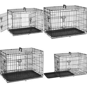 Double-Door Folding Metal Dog Crate, Black Free NextDay Delivery