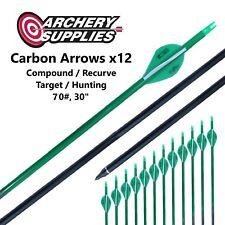 "Carbon Arrows x12 - 70#, 30"" - Compound / Recurve, Target / Hunting Archery"
