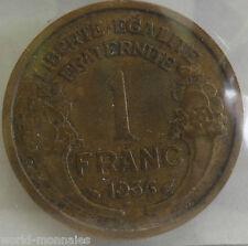 1 franc morlon 1936 : TB : pièce de monnaie française
