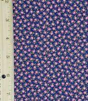 Vintage Calico Rosebud Blue Cotton Quilt Dress Apparel Fabric Concord NOS BTHY