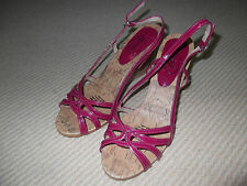LIPSTICK Womens Pink Wedge Sandals size 6