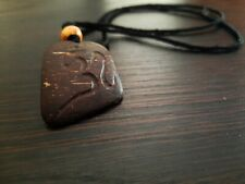 Hand Carved Natural coconut shell Pendant Beads Cord Necklace Handmade Jewelry