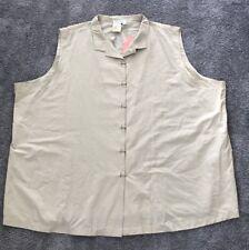 NEW Ulla Popken Beige Sleeveless Button Down Shirt/Top.4X. ULA 324