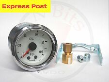 VDO 52mm White/Chrome 100 PSI MECHANICAL OIL OR AIR PRESSURE GAUGE