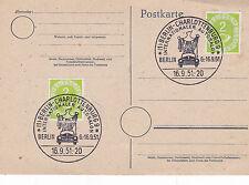 1951 Berlino Charlottenburg auto salone cartolina FDC inutilizzato in buonissima condizione