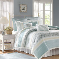 BEAUTIFUL CHIC COTTAGE FRENCH COUNTRY BLUE LEAF IVORY WHITE LACE COMFORTER SET