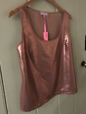 Gharani Strok 14 delightful sequinned vest cami sole NEW - Rose Gold