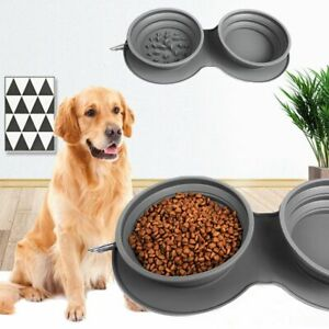 Collapsible Dog Double Bowls Portable Pets Slow Feeder Food Feeding Travel Dish