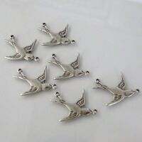 Four Antique Silver Finished Brass Swallow Bird Connectors 20mm West