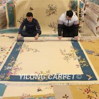 YILONG 6'x9' Hand knotted Chinese Art Deco Wool Rug Blue Woolen Home Carpets