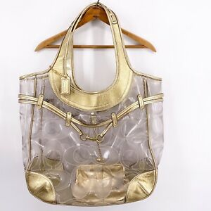 Coach RARE Limited Edition 2008 Ergo Clear PVC XL Huge Tote Bag Satchel Gold