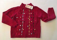 NWT Gymboree Mountain Cabin Sz 6 Red Pom Pom Cable Knit Zip Cardigan Sweater