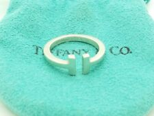 """Tiffany & Co. 925 Sterling Silver """"T"""" Square Ring Band Size 7 with Pouch"""