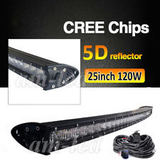 """5D+ Curved 25 inch120W LED Light Bar Off-Road for Jeep Ford+ Wiring Kit 24'' 26"""""""