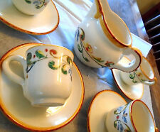 9 Pc. Sur La Table- Hand Painted in Italy  Cafe Set CapuccinoTuscany Cup Saucer