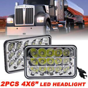 "DOT Pair 4x6"" INCH LED Headlights Hi/Lo Beam for Peterbilt Kenworth Freightliner"