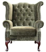 Chesterfield Queen Anne High Back Fireside Wing Chair Moss Green Fabric