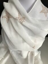 New Scarf White Background With Gold Star Design