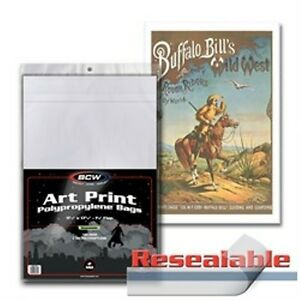 """1 Pack of 100 BCW 11 x 17"""" Photo Art Print Bags - Resealable"""