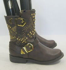 """new Brown/Gold Stud 1.5""""Block Heel Combat Ankle Sexy Boot    US WOMEN Size 6.5"""