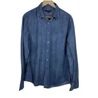 John Varvatos Shirt Size Large Mens Blue Denim Button Down Chambray Long Sleeve