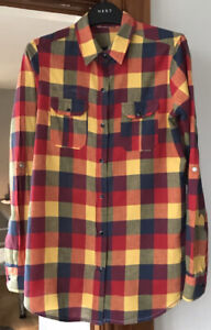 MULTICOLOURED CHECK LADIES SHIRT LONG SLEEVED PRESS STUDDED SIZE 10