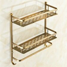 Antique Brass Bathroom Shower Storage Shelf Caddy Basket  2 Tier Organizer Rack