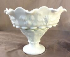 Westmoreland Paneled Grape Milk Glass Punch Bowl with Base Vintage Collectible